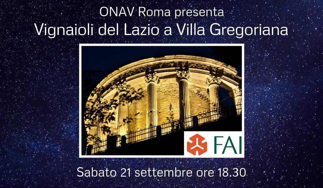 Tivoli (Rm), 21 settembre – Vignaioli del Lazio a Villa Gregoriana